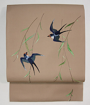 柳にツバメ刺繍名古屋帯