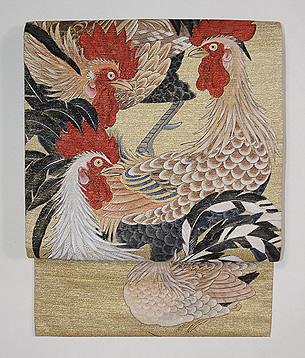 群鶏図開き名古屋帯