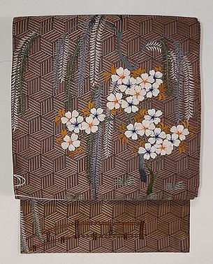 柳に桜刺繍名古屋帯