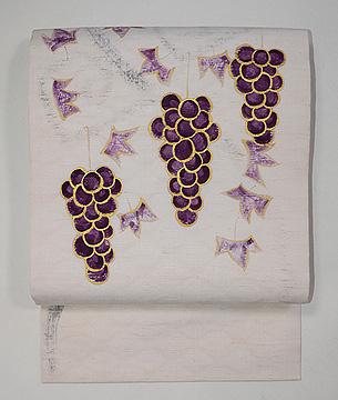 吉岡常雄作 葡萄の手描き名古屋帯