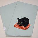 黒猫に桜の刺繍名古屋帯 帯裏