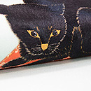 黒猫に桜の刺繍名古屋帯 質感・風合