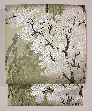桜と柳の図織名古屋帯