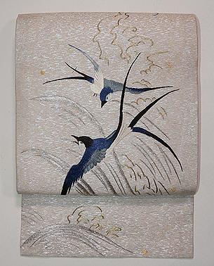 滝にツバメの刺繍夏名古屋帯