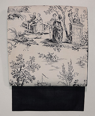 ヨーロッパ更紗貴婦人図の名古屋帯