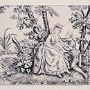 ヨーロッパ更紗貴婦人図の名古屋帯 前柄