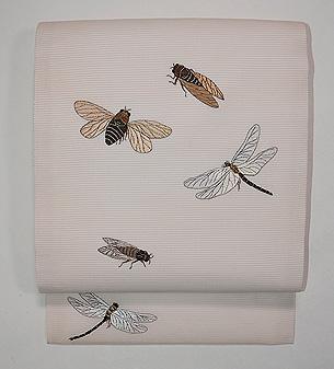 虫の刺繍夏名古屋帯
