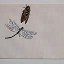 虫の刺繍夏名古屋帯 前柄