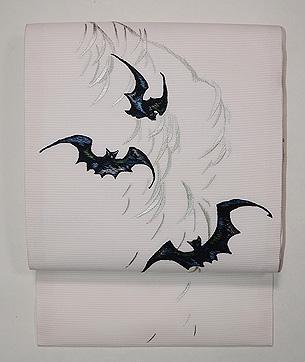 柳にコウモリの刺繍夏名古屋帯