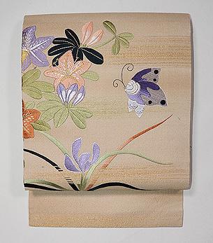 ツツジに蝶の刺繍名古屋帯