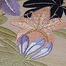 ツツジに蝶の刺繍名古屋帯 質感・風合