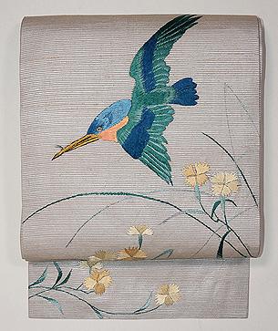 撫子にカワセミの刺繍名古屋帯