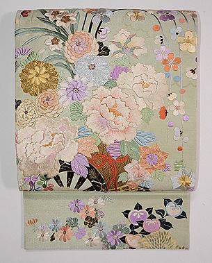 若芽色花車の袋帯