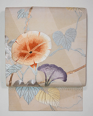 朝顔の図刺繍名古屋帯