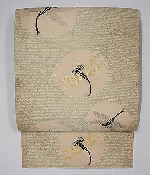 芝に蜻蛉丸文絽名古屋帯