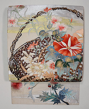 夏の花籠刺繍絽袋帯