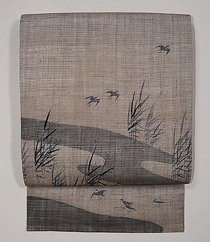 葦原に千鳥の図絽縮緬名古屋帯