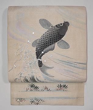 鯉と菊の図刺繍紗名古屋帯