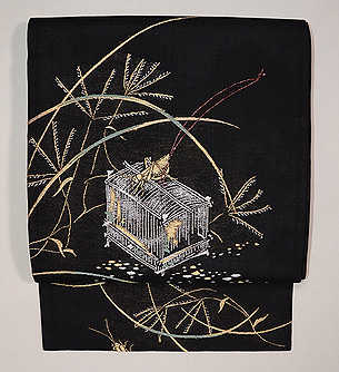 すすきに虫籠の図単衣袋帯