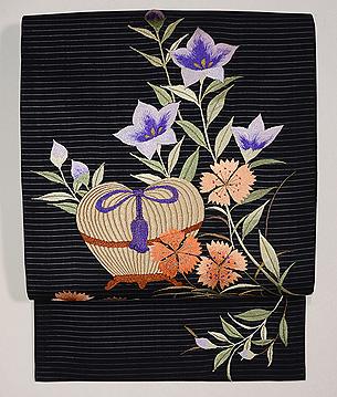 桔梗と撫子に虫籠の図刺繍絽名古屋帯