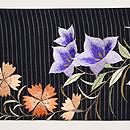 桔梗と撫子に虫籠の図刺繍絽名古屋帯 前柄