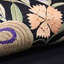 桔梗と撫子に虫籠の図刺繍絽名古屋帯 質感・風合