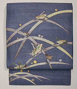 芝露に虫尽くし絽紗の名古屋帯