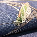 芝露に虫尽くし絽紗の名古屋帯 質感・風合