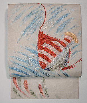 熱帯魚のフランス刺繍夏名古屋帯
