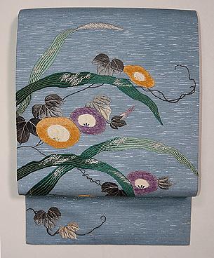 朝顔の刺繍夏名古屋帯