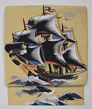 帆船の綴単衣名古屋帯