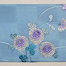 水色市松に菊・もみじの夏帯 前柄
