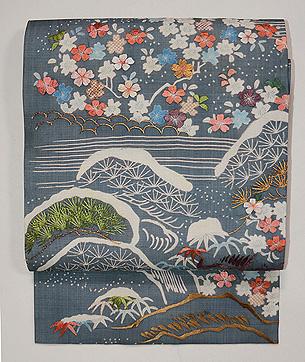 青磁色絽の江戸裂桜の名古屋帯
