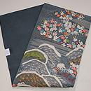 青磁色絽の江戸裂桜の名古屋帯 帯裏
