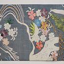 青磁色絽の江戸裂桜の名古屋帯 前柄