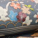 青磁色絽の江戸裂桜の名古屋帯 質感・風合