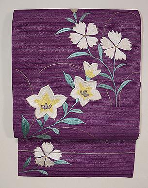 紫地桔梗になでしこ夏帯