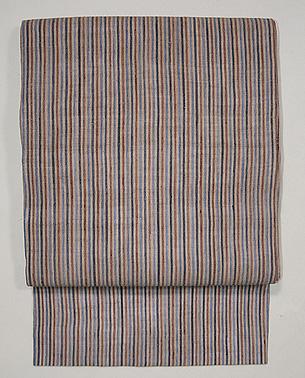 四色縦縞の越後上布名古屋帯