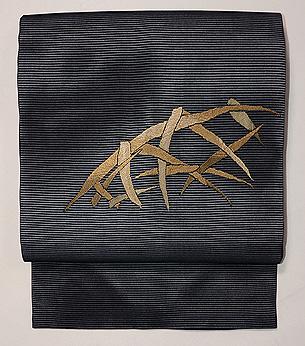 黒地蛇籠の刺繍紗の名古屋帯