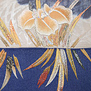 菖蒲の刺繍開き名古屋帯 前柄
