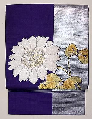 ひまわりの織り絽の名古屋帯