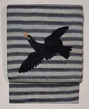 からす刺繍よろけ縞染め名古屋帯