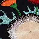 黒地アザミの刺繍夏名古屋帯 質感・風合