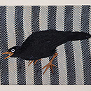 からす刺繍よろけ縞染め名古屋帯 前柄