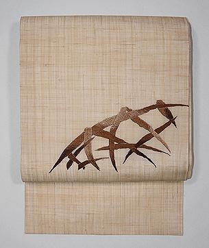 麻地蛇籠の刺繍名古屋帯