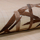 麻地蛇籠の刺繍名古屋帯 質感・風合