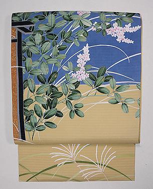 秋の花尽くしに垣根文様絽名古屋帯