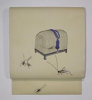 虫籠文様刺繍名古屋帯