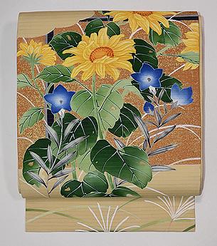 向日葵と桔梗の図絽名古屋帯