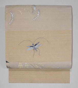 女郎花にバッタ刺繍絽名古屋帯